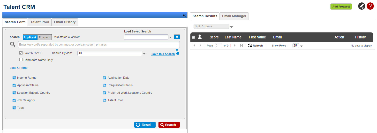 Manage And Search Talent Pool