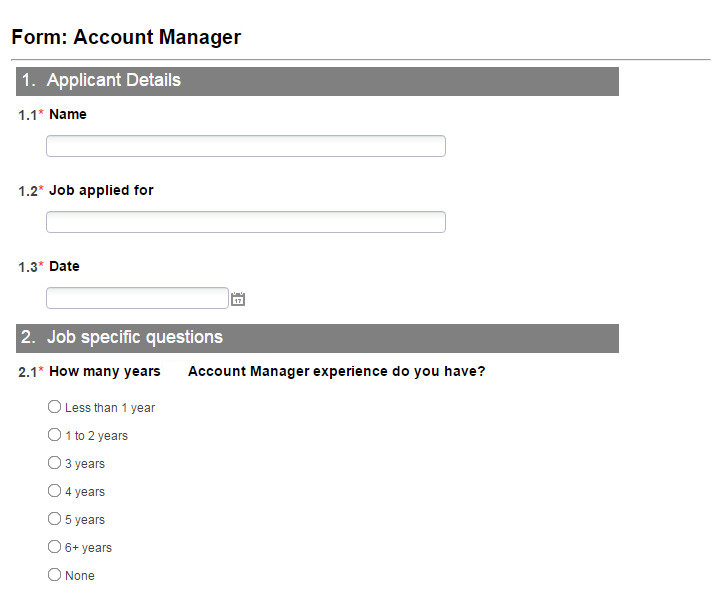 Online Recruitment Management Software - Job Specific Application Form