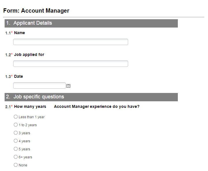 Online Recruitment Management Software - Job Specific Application Form